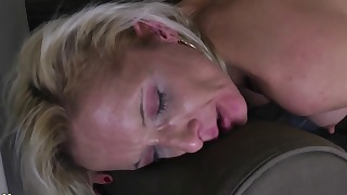 Goof and hot lesbian sex on the sofa