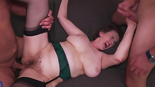 Stunning old Vs young mature gangbang action