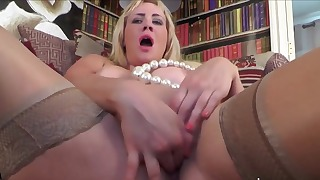 Good-looking busty blonde fucks her crack