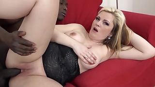 Golden blonde hottie likes interracial anal