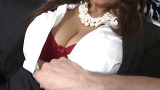 Cute busty mature sucks a nice big boner